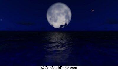 mer lune, 3d, entiers, nuit, fond
