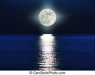 mer, lune, entiers, sur