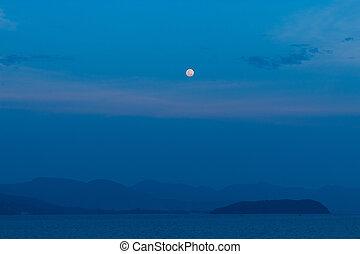 mer, lune, koh, entiers, phangan.
