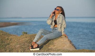 mer, lunettes soleil, girl