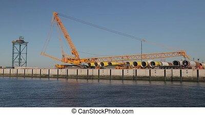 mer, partie, turbines, construction, vent