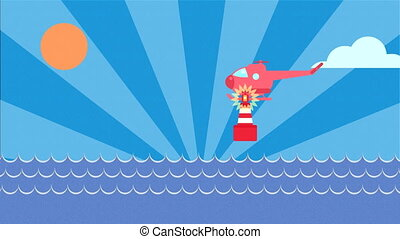mer, surface, hélicoptère, signal, ensembles, haut, lumière, phare