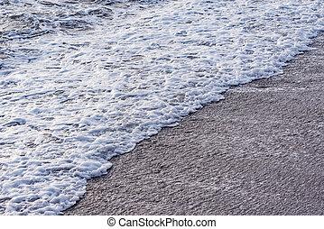 mer, vague, soir, eau, time.