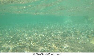mer, vagues, lent, tir, surface, mouvement, sous-marin, pierres