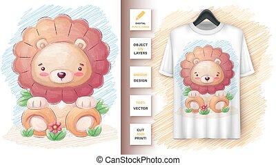 merchandising., affiche, mignon, lion
