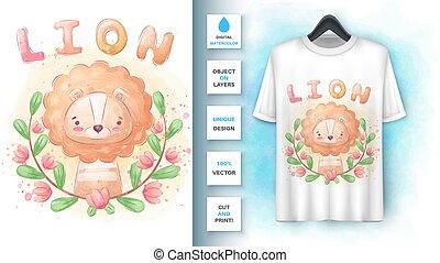 merchandising., fleur, affiche, lion