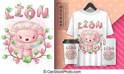merchandising., mignon, affiche, lion