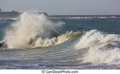 mers, orageux, vagues