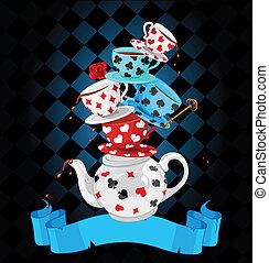 merveille, thé, pyramide, conception, fête