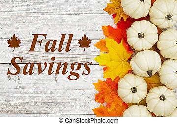 message, économies, blanc, automne, potirons, feuilles