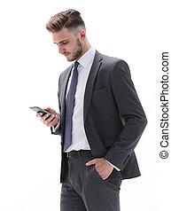message, homme affaires, texte, smartphone, lecture, sérieux