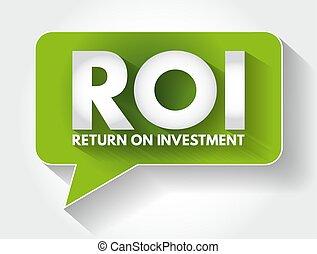 message, retour, business, fond, acronyme, roi, investissement, -, concept, bulle