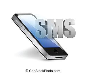 message téléphonique, concept, sms, illustration