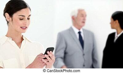 message, texte, dactylographie, femme affaires