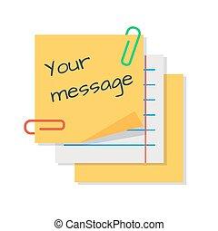 message texte, papier, autocollants