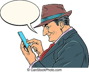 messages, regarde, smartphone., personnes agées, homme affaires, patron