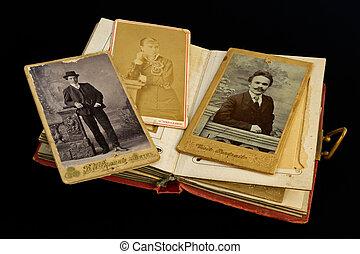 messieurs, photo, ancien, dame
