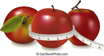 mesuré, mètre, trois, pommes, rouges