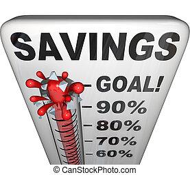mesurer, argent, augmentation, économies, thermomètre, nestegg