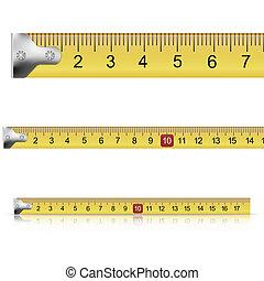 mesurer, blanc, ensemble, fond, bandes