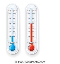 mesurer, chaud, froid, température, thermomètre