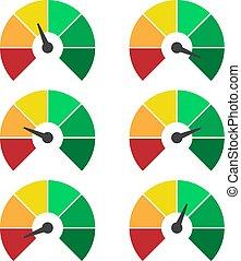 mesurer, classement, ensemble, icons., infographic, jauge, mètre, signes, compteur vitesse, ou, éléments