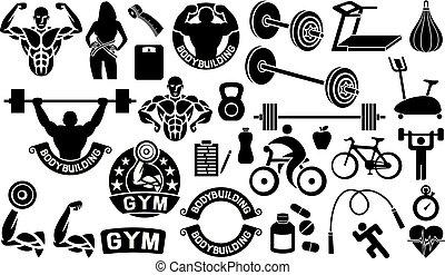 mesurer, coureur, pilules, ensemble, coeur, icônes, balances, bike), pomme, fitness, cycliste, femme, santé, chronomètre, tapis roulant, bande, sportif, barre disques, musculation, exercice, (weightlifter