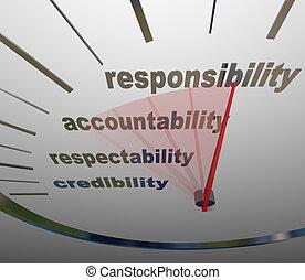 mesurer, devoir, niveau, accountability, réputation, responsabilité