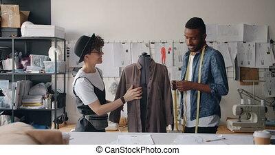 mesurer, measure-tape, vêtement, conversation, mannequin, couturières