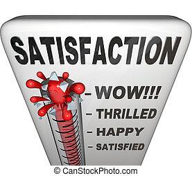 mesurer, niveau, satisfaction, exécution, thermomètre, bonheur