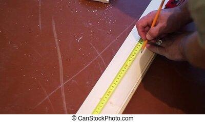 mesurer, petit, bande, planche, mesure