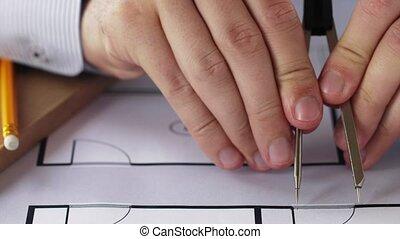 mesurer, plan, compas, architecte, mains