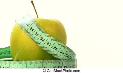 mesurer, pomme, blanc, bande, vert, frais, rotation