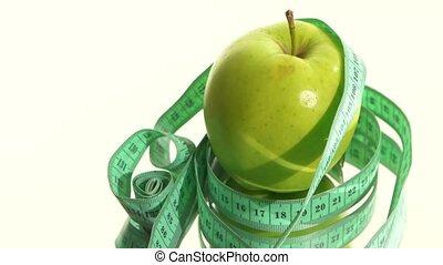 mesurer, pomme, rotation, bande, blanc, vert, reflet