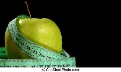 mesurer, pomme, rotation, bande, vert, frais, noir, reflet