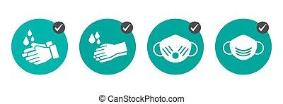 mesures, usure, préventif, pas, obtenir, icônes, comment, monde médical, masques, virus., mains, laver