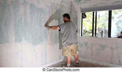 met, finir, planche, mur, plâtre, gypse, construction, truelle, ouvrier, toucher