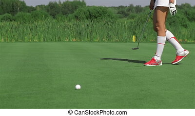 met genoux, femme, golf