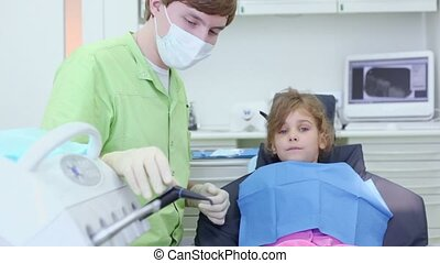 met, outillage, filles, dentiste, bouche, chirurgie, dentaire