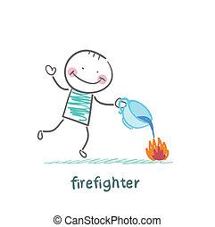 met, tasse, brûler, pompier, eau, dehors