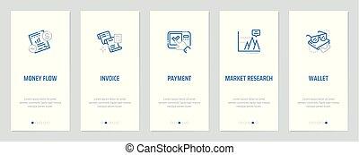 metaphors., vertical, couler, argent, paiement, recherche, portefeuille, facture, cartes, fort, marché