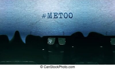 #metoo, papier, vieux, typewriter., feuille, mots, vendange, dactylographie