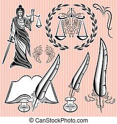mettez stylique, éléments, droit & loi