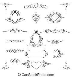 mettez stylique, vector., elements., calligraphic