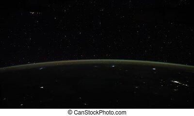 meublé, la terre, planète, nasa., espace, night., ceci, iss., vu, vidéo, exploration, éléments