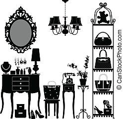 meubles, femme, salle, cosmétique