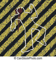 meurtre, silhouette, illustration., accident, scène, danger, crime, concept, vecteur, jaune, eps8, lines., ou, prévention