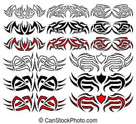 meute, tatouage, tribal, vecteur