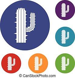 mexicain, ensemble, cactus, icônes