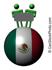 mexicain, gens, signe, sphère, drapeau, tenue